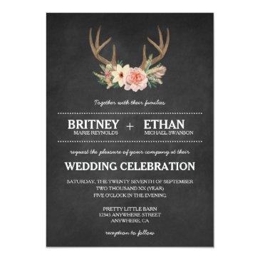 Small Country Chalkboard Deer Antler Wedding Invitation Front View