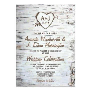 Small Country Rustic Birch Tree Bark Wedding Front View