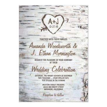 country rustic birch tree bark wedding invitation