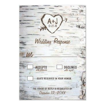 country rustic birch tree bark wedding rsvp