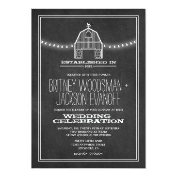 Small Country Rustic Chalkboard Barn Wedding Invitationss Front View