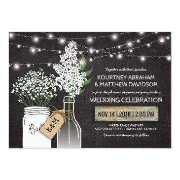 Small Country Rustic Chalkboard Wood Wedding Invitationss Front View