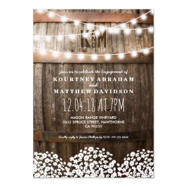 country rustic engagement | string of lights