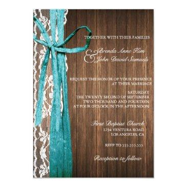 Small Country Rustic Lace Wood Wedding Invitations Front View
