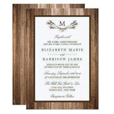 country rustic monogram branch & wood wedding