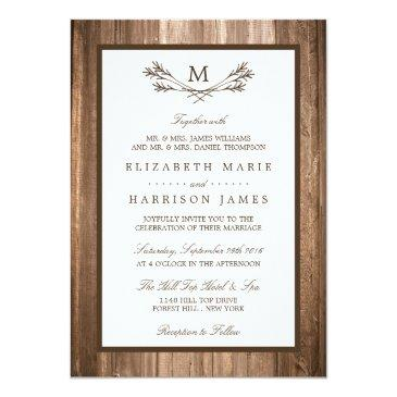 Small Country Rustic Monogram Branch & Wood Wedding Invitationss Front View