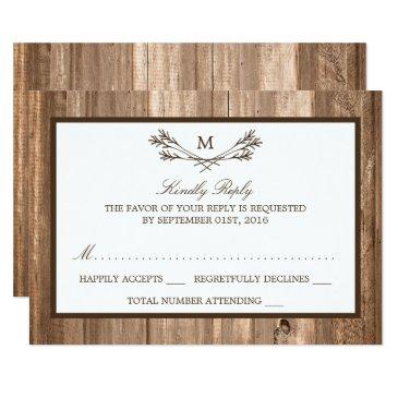 country rustic monogram branch & wood wedding rsvp