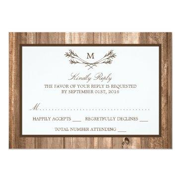 Small Country Rustic Monogram Branch & Wood Wedding Rsvp Invitationss Front View