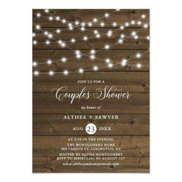 Small Country Rustic String Lights Couples Shower Invite Front View