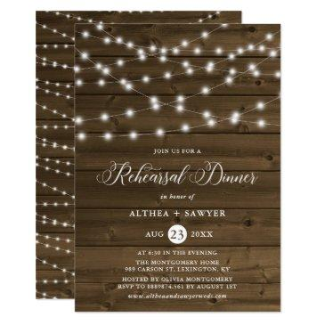 country rustic string lights rehearsal dinner invitations