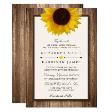 country rustic sunflower & brown wood
