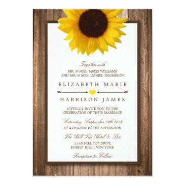 Small Country Rustic Sunflower & Brown Wood Wedding Front View