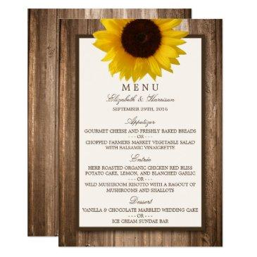 country rustic sunflower & brown wood wedding menu