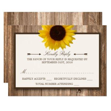 country rustic sunflower & brown wood wedding rsvp