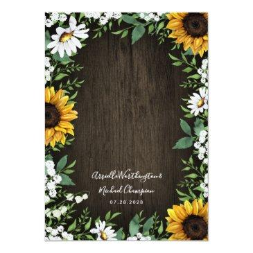 Small Country Rustic Sunflower Daisy Wedding Back View