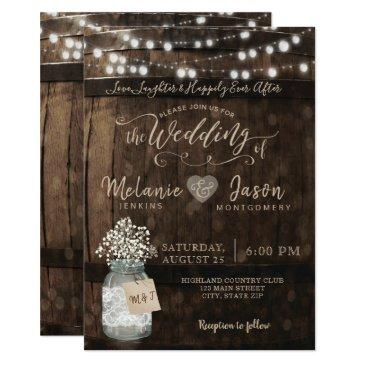 country rustic wood barrel wedding invitationss