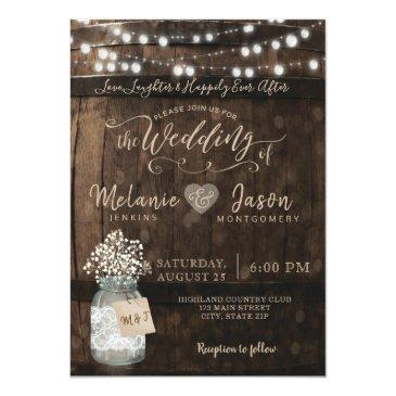 Small Country Rustic Wood Barrel Wedding Invitation Front View