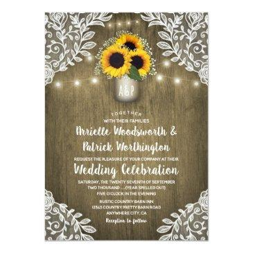 Small Country Sunflower Mason Jar Wedding Front View
