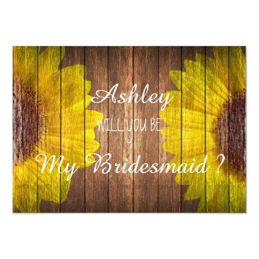 Small Country Sunflower Rustic Will You Be My Bridesmaid Front View