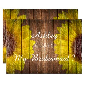 country sunflower rustic will you be my bridesmaid