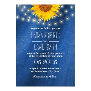 Small Country Sunflower & String Lights Wedding Invitationss Front View