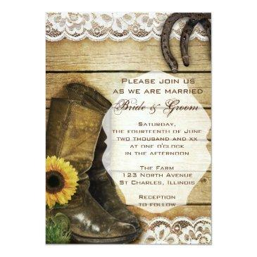 country sunflower wedding boots and horseshoes invitations