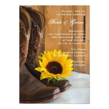 Small Country Sunflower Western Wedding Invitationss Front View