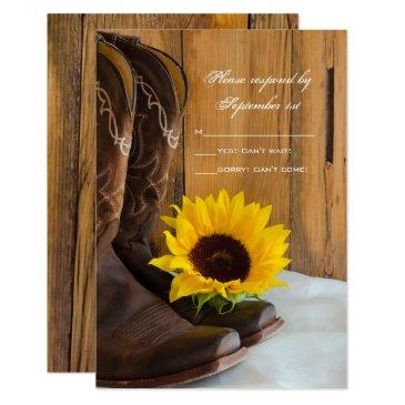 country sunflower western wedding rsvp response