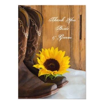 country sunflower western wedding thank you notes