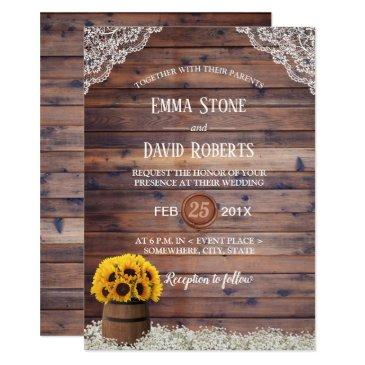 country sunflower wine barrel rustic wedding