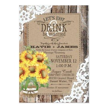 country sunflower wood lace rustic wedding