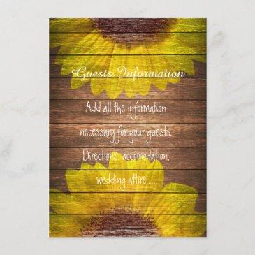 country sunflowers rustic wood wedding insert
