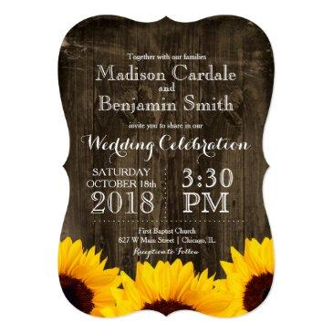 Small Country Sunflowers Rustic Wood Wedding Front View