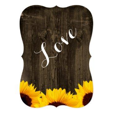Small Country Sunflowers Rustic Wood Wedding Invitationss Back View