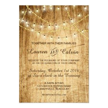country wedding invitation with string lights