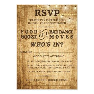 Small Country Wedding Rsvp For Rustic Wedding Invitationss Front View