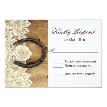 country western horseshoe lace wedding rsvp