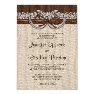 country western horseshoe wedding invitations