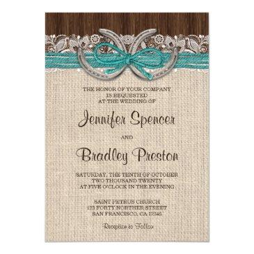 country western horseshoe wedding invitationss