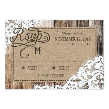 country western wood lace rustic rsvp