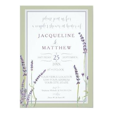 couples shower watercolor lavender flowers script