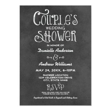 Small Couple's Wedding Shower | Black Chalkboard Invitation Front View