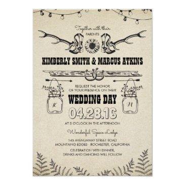 Small Cowboy Boots Sunflower Country Rustic Barn Wedding Invitation Front View