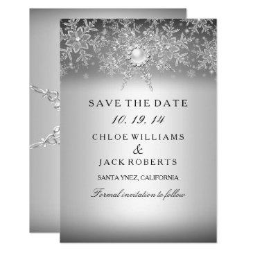 crystal pearl snowflake silver save the date