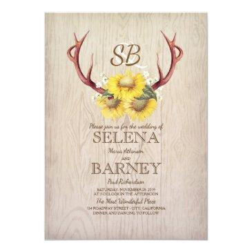 Small Deer Antlers And Sunflowers Floral Rustic Wedding Invitationss Front View