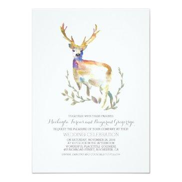 Small Deer Rustic Woodland Wedding Invitation Front View
