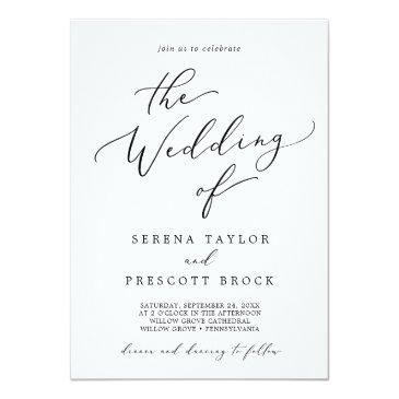 Small Delicate Black Calligraphy All In One Wedding Invitation Front View