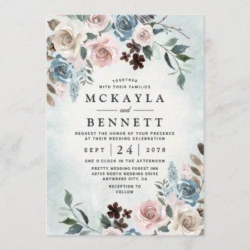 dusty blue and blush pink mauve floral wedding invitation