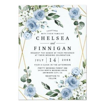 Small Dusty Blue And Gold Elegant Floral Rustic Wedding Invitation Front View