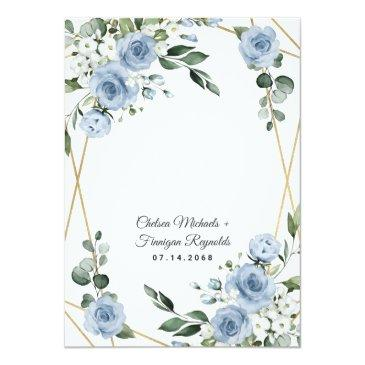 Small Dusty Blue And Gold Elegant Floral Rustic Wedding Invitation Back View